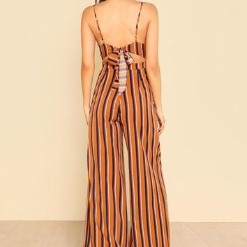Back Bow Striped Wide Leg Jumpsuit