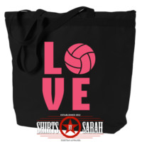 Sports Tote Bags : Love Volley Ball Zippered Tote