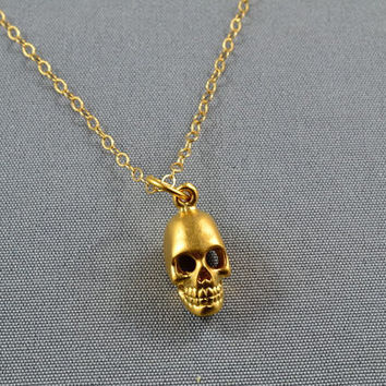 3D Hollow Skull Necklace 24K Vermeil 14K Gold Filled Chain by WonderfulJewelry