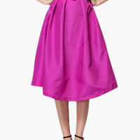 Hot Pink Waist Belt Midi Skirt