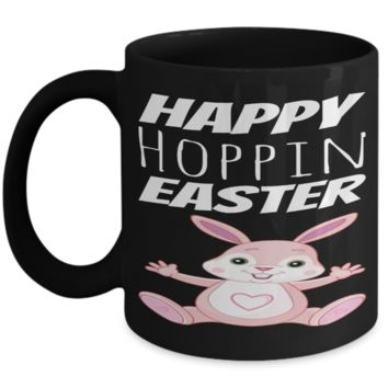 Happy Easter 2017 Breakfast Lunch Dinner Mug Black Chicken Coffee Cup For Easter 2017 2018 Gifts For Family Grandparent Grandma Granddad Wive Husband Couples Funny Sayings Holiday Tea Coffee Mugs Cups Happy Hoppin Easter