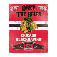 Chicago Blackhawks NHL Vintage Metal Sign (11.5in x 14.5in)