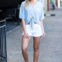 Warm Summer Top, Blue-White