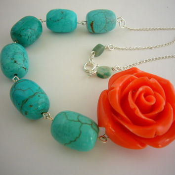 Turquoise Magnesite Necklace, Coral Flower Necklace, Romantic, Shabby Chic, Wedding Necklace, Bridesmaid Accessories, Maid of Honor Jewelry.
