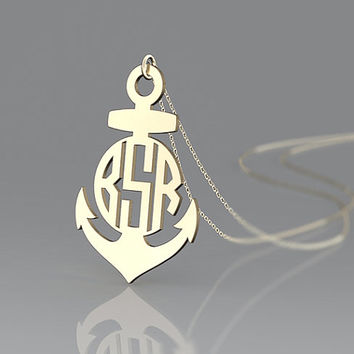 """Anchor necklace 1"""" """"1.25""""  1.5''  Personalized Monogram,925 Sterling silver 18k Gold Plated,gold Plated monogram necklace,bridesmaids gift"""