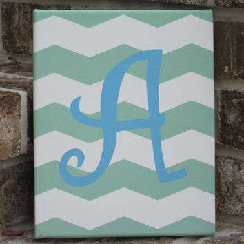 Chevron Initial / Monogram Personalized Painting in Teal and Sea Green - Wall Decor Art - You Customize!