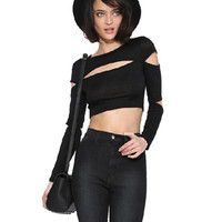 Black Cut-Out Long Sleeve Cropped Top