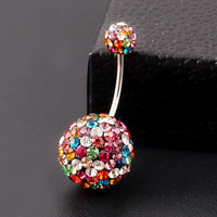 Ball Colorful Crystal Navel Ring Stainless Steel Piercing Belly Button Ring