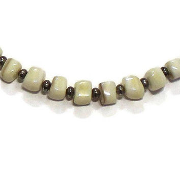 Natural Polished Stone Beaded Necklace, Boho Jewelry, Unisex