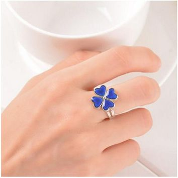 DKF4S Clover Ring Mood Color Change Ring Temperature Mood Rings for Women Men Fine Jewelry present party for girlfriend Guest