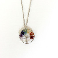 Chakra Tree of Life Necklace, Multicolor Crystal