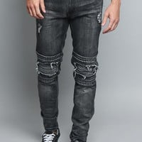 Studded Biker Denim Jeans DL1173 - A1H