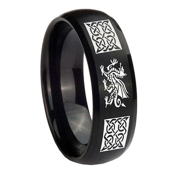 8MM Multiple Dragon Celtic Satin Black Dome Tungsten Carbide Laser Engraved Ring