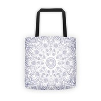 Reiki Charged Blue Mandala Design Tote Bag