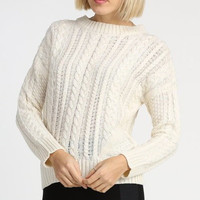 Classic Cable Knit Boxy Sweater - Ivory