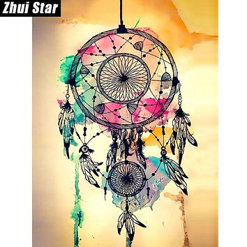 "Zhui Star Full Square Diamond 5D DIY Diamond Painting ""Indian dreamcatchers"" 3D Embroidery Cross Stitch Mosaic Painting Decor BK"