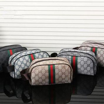 PEAPJ. Gucci' Retro Fashion Multicolor Stripe Classic Print Handbag Wrist Bag High Capacity Cosmetic Bag