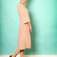 Nude floral dress – Holiday dress - Modest midi dress for women