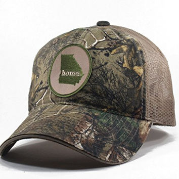 Homeland Tees Men's Georgia Home State Realtree Camo Trucker Hat - Army Green