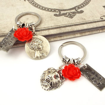 Beauty & the Beast Couples Keychains His Beauty Her Beast