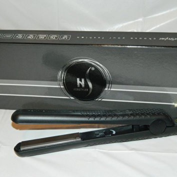 "HerStyler SuperStyler Onyx Ceramic Flat Iron - 1.25"" Ceramic Plates, Negative Ion Technology - Best Hair Straightener for All Types of Hair - Black"