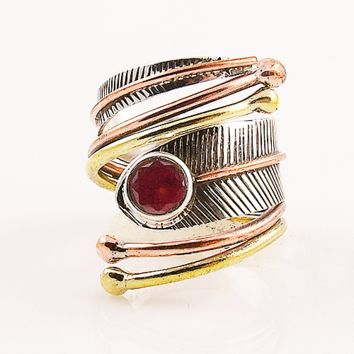 Ruby Sterling Silver Three Tone Adjustable Wrap Ring