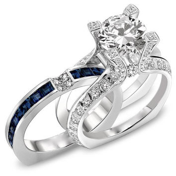 Best Blue Sapphire And Diamond Wedding Sets Products on Wanelo
