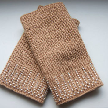 Beaded Wrist warmers, cuffs light brown with white glossy beads ornament, from cashmere,  Ready to ship