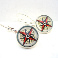 Compass Map Earrings from Vintage Petite by CarpeDiemHandmade