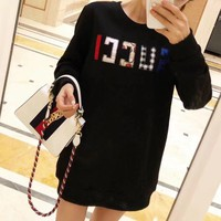 """Gucci"" Women Fashion Letter Back Personality Rhinestone Wolf Head Long Sleeve Sweater Tops"