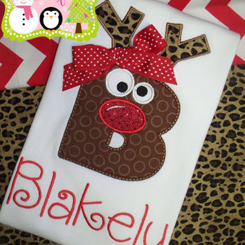 Christmas applique shirt- Holiday applique shirt- Christmas- Christmas reindeer shirt- rudolph shirt- Christmas monogram shirt