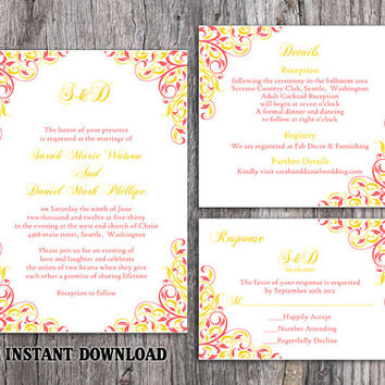 DIY Wedding Invitation Template Set Editable Word File Download Printable Coral Invitation Pink Yellow Wedding Invitation Elegant Invitation