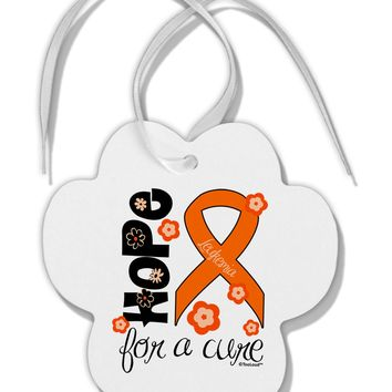 Hope for a Cure - Orange Ribbon Leukemia - Flowers Paw Print Shaped Ornament