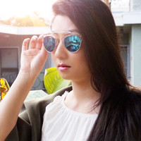 Didi So Faux Real Mirrored Lens Sunglasses Clear/Blue Tint