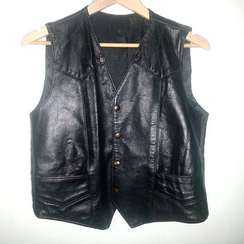 Vintage Black Leather VEST Button Up and Pockets Sleeveless Biker Punk Soft Grunge