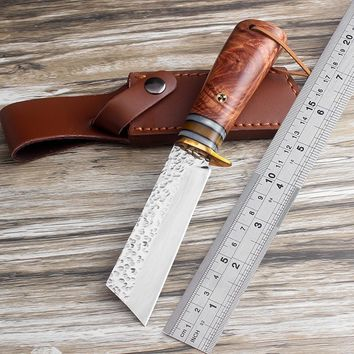 High Quality Handmade Forged Hunting Knife 9CR18MOV Steel Camping Tactical Combat Survive Knives Rosewood Handle EDC multi Tools