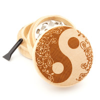 "Wooden Grinder - Blooming Yin Yang - 2"" Custom Herb Grinder - Spirit Series"