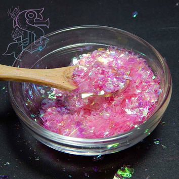 "Iridescent pink mylar ""Icicle"" glitter, nail art 10gr, UV resin, rainbow holographic , not solvent resist"