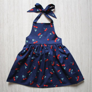 Cherry Girls Apron Dress Navy Pineafore Dress Little Girls Beach Dress Backless Dress Halter Dress Toddler Summer Dress Dress Size NB, 14