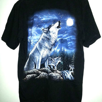 Wolf Tshirt Double Sided Print Animal Shirt Wolves Howling Hipster Soft Grunge Nature All Over Print - Size Large
