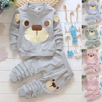 2pcs/set Kids Cartoon Bear Clothes Toddler Baby Boys Girls Long Sleeve Hoodie Tops Sweatshirt + Long Pants Winter Outfits Set 21
