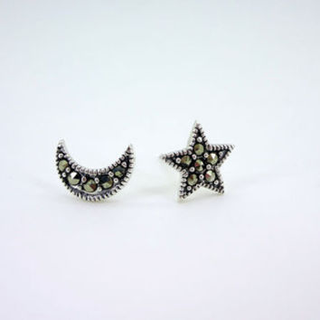 Marcasite Stone Star  Moon 925 Sterling Silver Stud Earrings