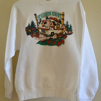 Disney World Fort Wilderness Crewneck Sweater Oversized 90's Vintage XL