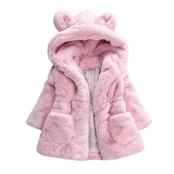 Baby Infant Girls Coat Autumn Winter Hooded Coat Cloak Jacket Thick Warm Clothes