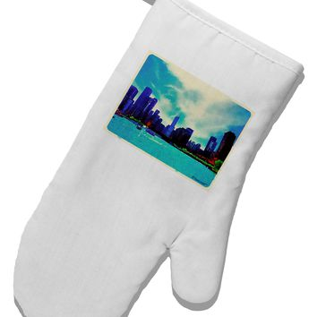 Chicago Skyline Watercolor White Printed Fabric Oven Mitt