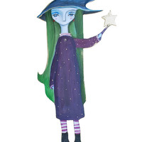 Green hair girl holding a star - witch girl - green and purple wall art - wall art with reclaimed wood - wooden figurine