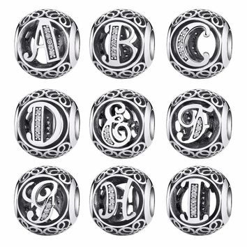 11.11 sale BISAER 925 Sterling Silver Vintage A to T, Clear CZ Letter Round Beads Fit BISAER Charm Bracelets Original Jewelry