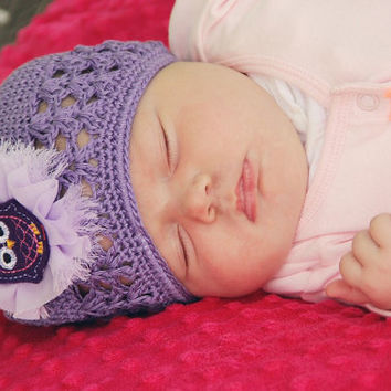 Newborn Hat - Purple Beanie Hat for Baby - Newborn Photo Prop - Owl Hat - Lavender Crochet Beanie for Infant - Baby Girl Hat -
