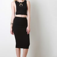 Rib Knit Pencil Cut Midi Skirt