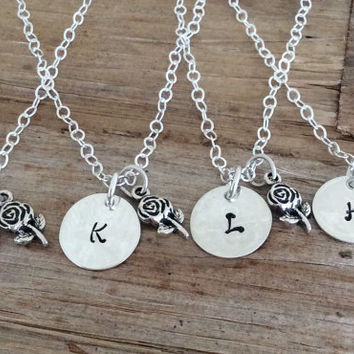 Set of 6 Bridesmaid Jewelry - Personalized Engraved Initial Rose Charm - Letter, Set of 7 Set of 8 Set of 9